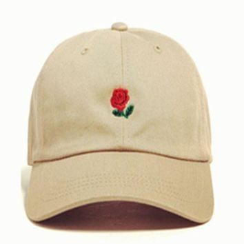 ESBONPR Khaki The Hundreds Rose Embroidered Unisex Adjustable Cotton Sports Cap Hat