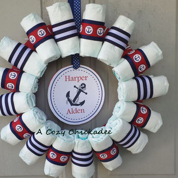 Nautical Baby Diaper Wreath