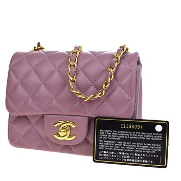 Auth CHANEL CC Mini Matelasse Quilted Chain Shoulder Bag Leather Purple 304X024