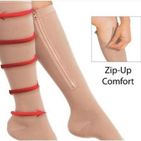 TV Shop Zip Sox Compression Socks Zipper Leg Support Knee Stockings Open Toe - Black/Skin