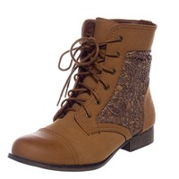 Embroidered Army Crochet Lace Up Combat Boots - Tan from Natures Breeze at Lucky 21