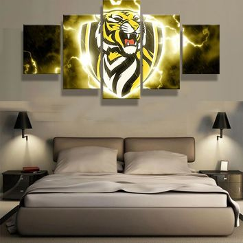 5 Pcs Richmond Tigers Club Logo Modern Home Wall Decor Painting Canvas Art HD Print Painting Canvas Wall Picture For Home Decor