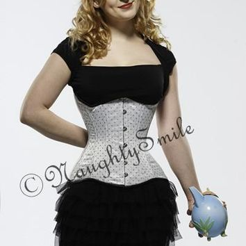 White/Black Polka Dot Underbust Waist Training Corset NS-426