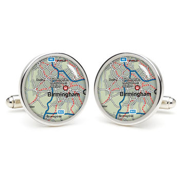 Birmingham  map cufflinks , wedding gift ideas for groom,gift for dad,great gift ideas for men,groomsmen cufflinks,silver cufflinks,Map