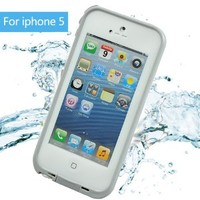 Leang Waterproof Shockproof and Dirtproof Case for iPhone 5 Life Dirt Proof Case - White and Gray+ Cleaning Cloth