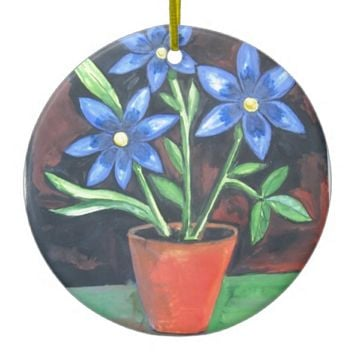 Blue Flowers Double-Sided Ceramic Round Christmas Ornament