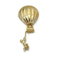 Signed AJC Hot Air Balloon Brooch - Gold Tone Funny Whimsical Vintage Jewelry Pin - Catching Falling Hanging by a Rope Man and Woman Couple