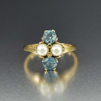 Art Deco Gold Pearl and Blue Topaz Ring