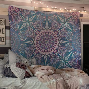 Trippy Mandala Tapestry Blue Distressed Tapestry Wall Hanging Meditation Yoga Grunge Hippie