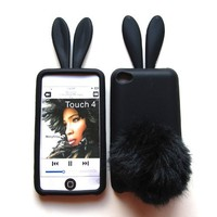 Bunny Skin Case With Furry Tail for Apple iPod Touch 4th Generation, Black