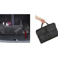 Black Folding Trunk Organizer car organizer Soft Storage Chest cleaning suppliers (Size: 56cm by 40cm by 26cm, Color: Black)