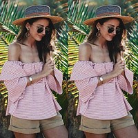 Fashion Casual Stripe Frills Off Shoulder Middle Sleeve T-shirt Tops