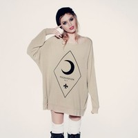 MOON POTION- ROADTRIP SWEATER at Wildfox Couture in  CERULEAN, CANVAS