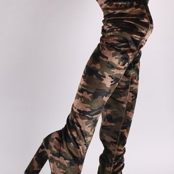 Qupid Velvet Camouflage Chunky Heeled Over-The-Knee Boots