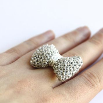 Bow Ring Knitted In Silver: READY TO SHIP
