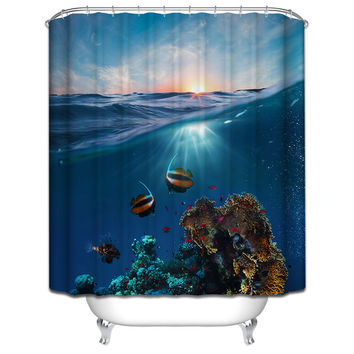 Polyester Shower Curtain Bathroom Decor Home Decorations Seabed Fish Summer Beach Violin Wolf Howl White Shark