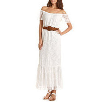 Belted Lace Maxi Dress: Charlotte Russe
