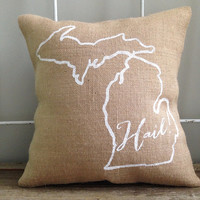 "Burlap Pillow - ""Hail"" University of Michigan pillow, University of Michigan fight song- custom made to order"