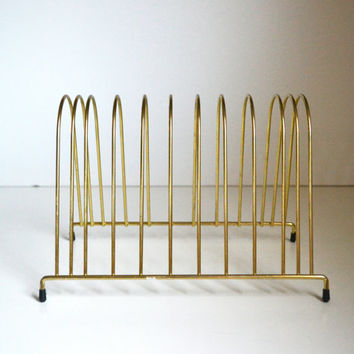 Vintage Brass Rack File Folder Organizer Record Rack Brass Plate Holder Mid Century Wire Desk Accessory Gold Rack