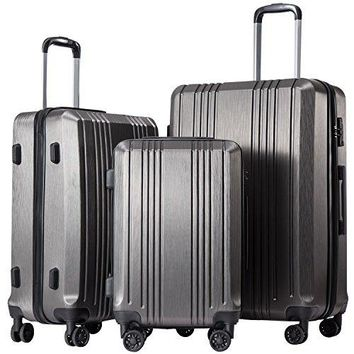 Coolife Luggage Expandable Suitcase 3 Piece Set with TSA Lock Spinner 20in24in28in (sliver gray3)