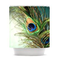 """Sylvia Cook """"Teal Peacock Feather"""" Shower Curtain"""