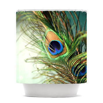 "Sylvia Cook ""Teal Peacock Feather"" Shower Curtain"