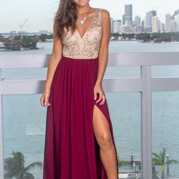 Deep Berry and Nude Maxi Dress