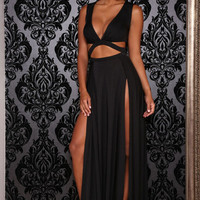 Black Sleeveless Plunge V Neck Cut Out Double Slit Maxi Dress