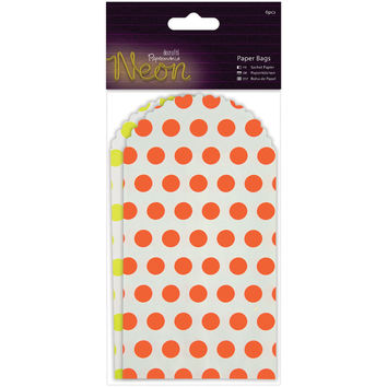 "Papermania Neon/White Paper Bags 6/Pkg-6.5""""X3.375"""", Yellow & Orange"