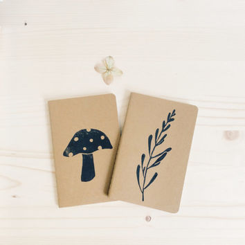 ONLY ONE SET- Hand Printed Moleskine Set Botanical Pocket Notebooks with Linocut Mushroom and Wild Plant