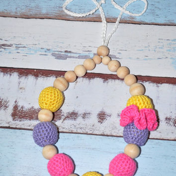 Breastfeeding Flower Necklace Yellow Purple Pink Teething Jewelry Crochet Baby Gifts Mom Accessory Ready to Ship