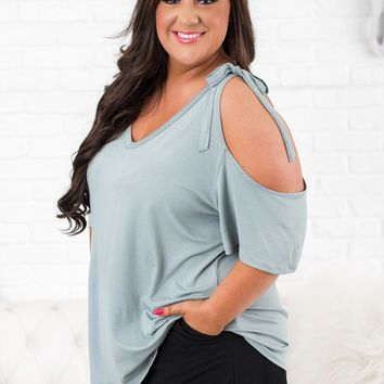 Curvy Walk By The Water Basic Top (Sage)