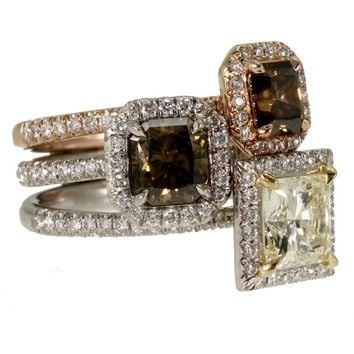 David Alan Platinum & 18KR Gold, Radiant-cut Diamond Stakkr Ring Set sz 6 - Jewelry | Portero Luxury