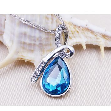New Vintage Saphire Jewelry Creative Ladies Style Love Drift Bottles Crystal Necklace Blue Drop Charm Pendant Necklace For Woman