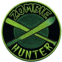 "Embroidered Iron On Patch - Zombie Hunter 4"" x 4"" Biker Patch"