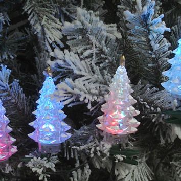 Set Of 4 Multi-Color LED Christmas Tree Holiday Lights - Green Wire
