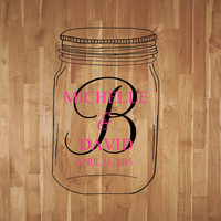 Mason Jar Wedding Monogram Dance Floor Decal Reception Vinyl Wall Decal Lettering Decor