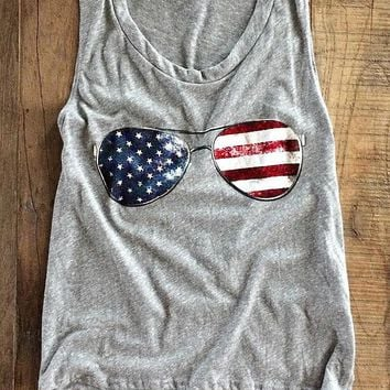 Chulianyouhuo Ukraine Harajuku American Flag Glasses O-Neck t-shirt 2017 summer t shirt women Sleeveless vest Tops unicorn bts