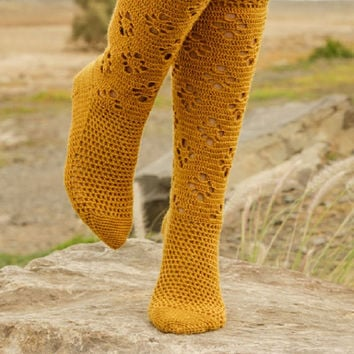 Handmade Crochet Socks Lace crochet socks handknit socks mustard yellow socks gothic lolita victorian fashion Drops Lilith