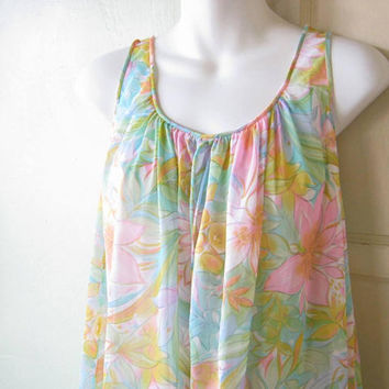 Pink/Plant Green/Aqua Blue Floral 1960s-'70s Nightie; Sleeveless Medium-Large Nightgown; U.S. Shipping Included