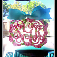 Lilly inspired Rear view mirror charm, Preppy Rearview mirror Monogram, Rear view mirror accessories, Rearview mirror accessories, any print
