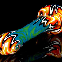 Full Wig Wag Glass Pipe Heady Smoking Bowl - Colorful Hand Blown Spoon Piece w/ Incredible Multi Section Switchback Reversal Pattern