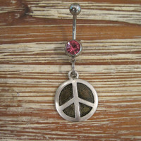 Belly Button Ring - Body Jewelry - Silver and Black Peace Sign with Pink Gem Stone Belly Button Ring