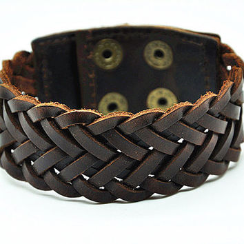 Antique Men's Brown Leather Cuff Bracelet, Leather Wrist Band Wristband Handcrafted Bracelet, Women's Leather Bangle Bracelet  FSRZ0211