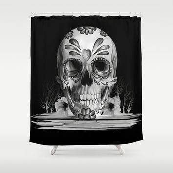 Pulled sugar, day of the dead skull Shower Curtain by Kristy Patterson Design