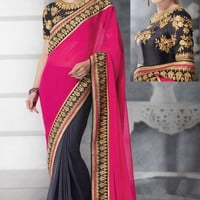 Black Georgette Saree with Blouse - SAREE - Women