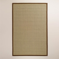 Brown Cotton Border Panama Sisal Rug, Tan - World Market