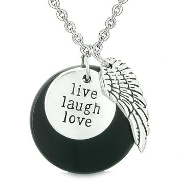 Guardian Angel Wing Live Laugh Love Inspirational Medallion Magic Amulet Black Agate Necklace