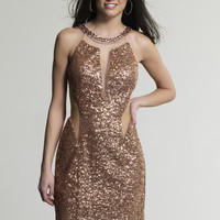 Dave & Johnny 163 Champagne Sequin Sheer Prom Dresses Online