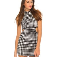 Motel Asri Cut Out Mini Dress in Hounds Tooth Black and White